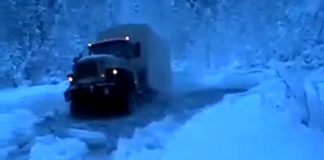 Отважный Урал героически штурмует замерзшую реку на Севере